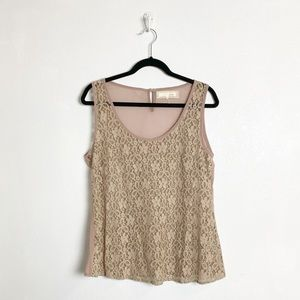 A'reve mauve sleeveless lace top